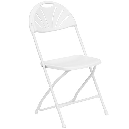 Lightweight White Fan Back Plastic Folding Chairs | Foldable Chairs
