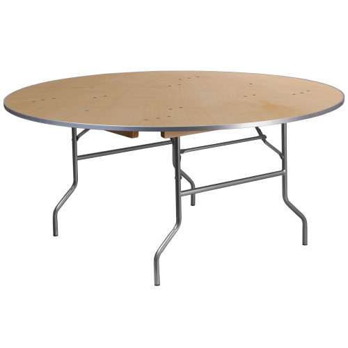 "72"" Round Birchwood Folding Banquet Table 