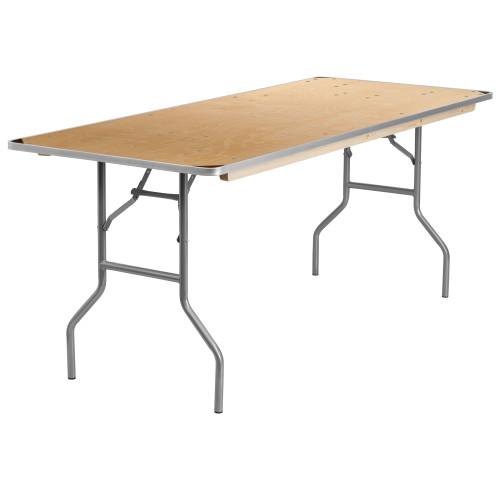 6' Rectangular Birchwood Folding Banquet Table | Rectangular Wooden Banquet Tables for Sale
