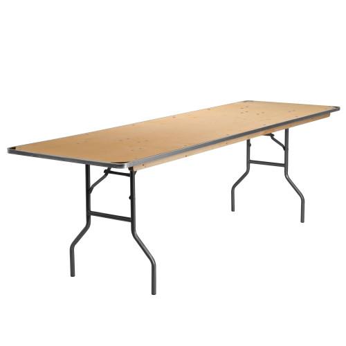 8' Rectangular Birchwood Folding Banquet Table | Rectangular Wooden Banquet Tables for Sale