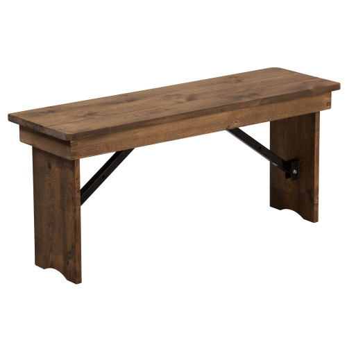 Farmhouse Table Bench | 12x40 Rustic Pine | Wooden Folding Table