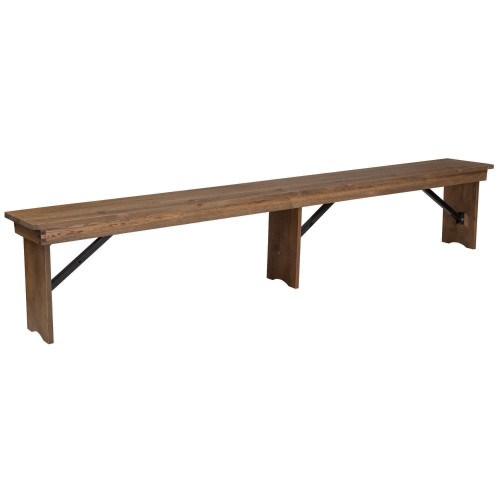 Farmhouse Table Bench | 12x96 Rustic Pine | Wooden Folding Table