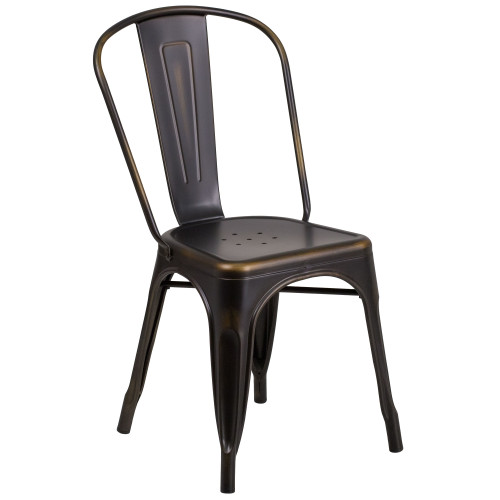 Tolix Chair | Distressed Copper Metal | Stackable Chair