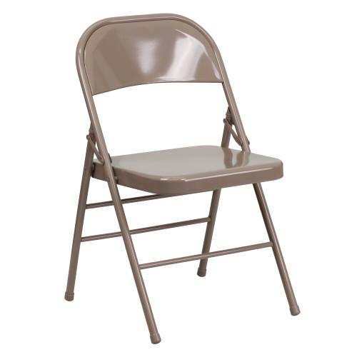 Beige Metal Folding Chairs | Triple Braced Discount Folding Chairs