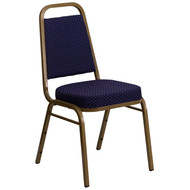 Advantage Trapezoidal Back Stacking Banquet Chair in Navy Patterned Fabric - Gold Frame [FD-BHF-1-ALLGOLD-0849-NVY-GG]