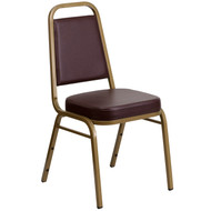 Advantage Trapezoidal Back Stacking Banquet Chair in Brown Vinyl - Gold Frame [FD-BHF-1-ALLGOLD-BN-GG]
