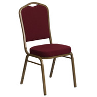 Crown Back Stacking Banquet Chair in Burgundy Fabric - Gold Frame [FD-C01-ALLGOLD-3169-GG]