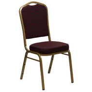 Crown Back Stacking Banquet Chair in Burgundy Patterned Fabric - Gold Frame [FD-C01-ALLGOLD-EFE1679-GG]