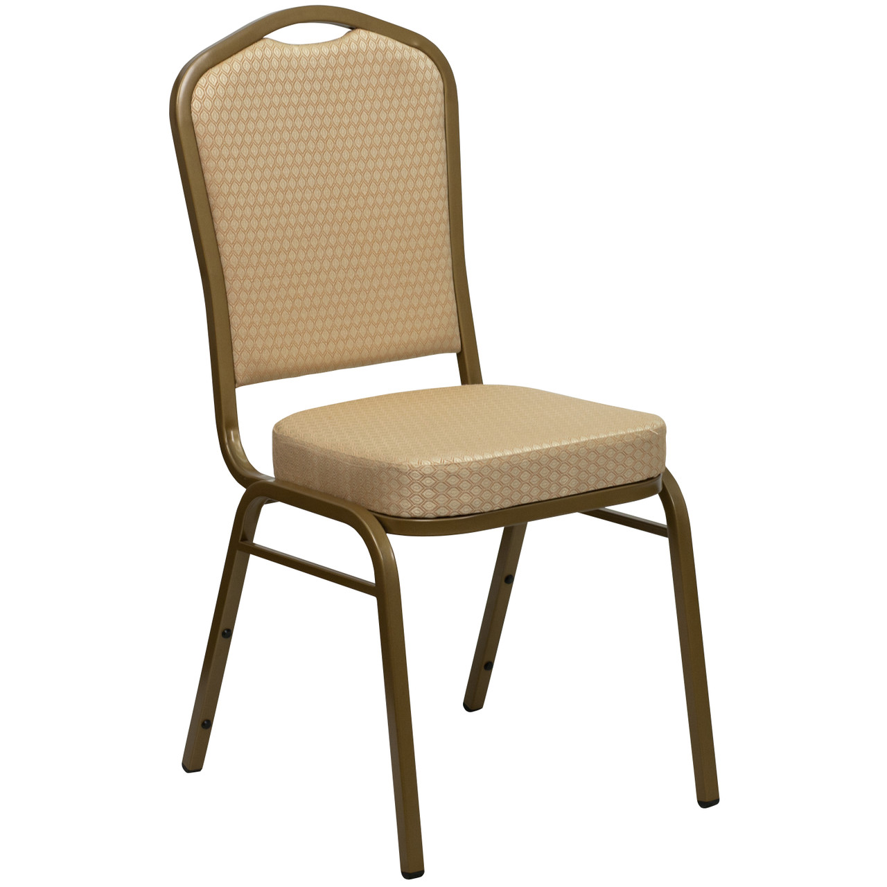 Crown Back Stacking Banquet Chair In Beige Patterned Fabric Gold Frame Fd C01 Allgold H20124e Gg