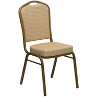 Crown Back Stacking Banquet Chair in Beige Patterned Fabric - Gold Frame [FD-C01-ALLGOLD-H20124E-GG]