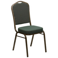 Crown Back Stacking Banquet Chair in Green Patterned Fabric - Gold Vein Frame [FD-C01-GOLDVEIN-0640-GG]