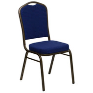 Crown Back Stacking Banquet Chair in Navy Blue Patterned Fabric - Gold Vein Frame [FD-C01-GOLDVEIN-208-GG]