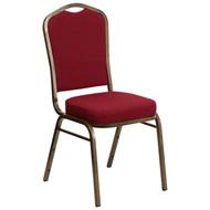 Crown Back Stacking Banquet Chair in Burgundy Fabric - Gold Vein Frame [FD-C01-GOLDVEIN-3169-GG]