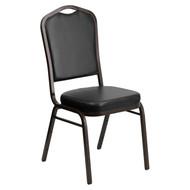 Crown Back Stacking Banquet Chair in Black Vinyl - Gold Vein Frame [FD-C01-GOLDVEIN-BK-VY-GG]