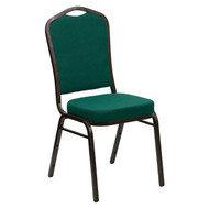Crown Back Stacking Banquet Chair in Green Fabric - Gold Vein Frame [FD-C01-GOLDVEIN-GN-GG]