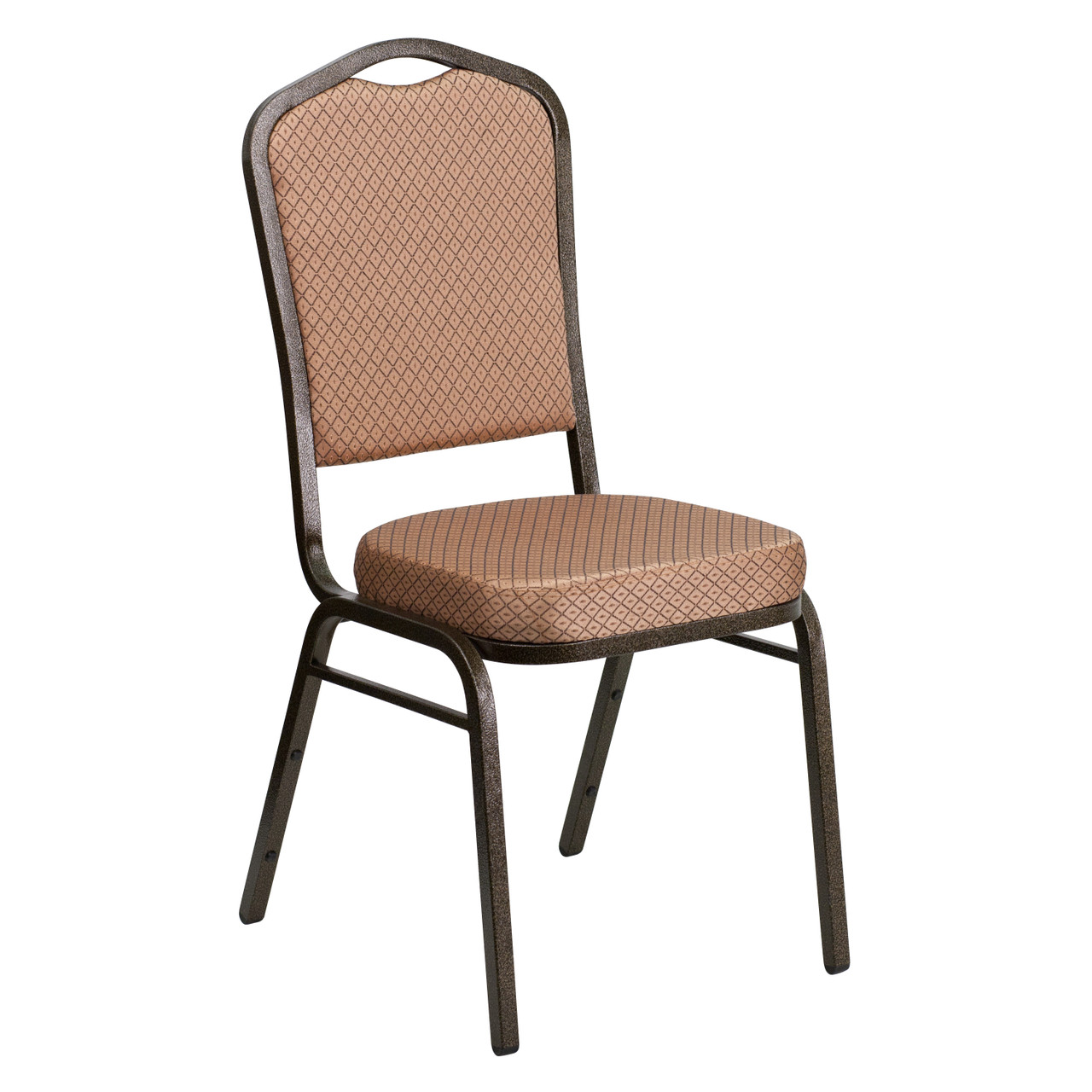 Crown Back Stacking Banquet Chair In Gold Diamond Patterned Fabric Gold Vein Frame Fd C01 Goldvein Go Gg