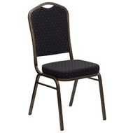 Crown Back Stacking Banquet Chair in Black Patterned Fabric - Gold Vein Frame [FD-C01-GOLDVEIN-S0806-GG]
