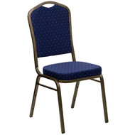 Crown Back Stacking Banquet Chair in Navy Blue Dot Patterned Fabric - Gold Vein Frame [FD-C01-GOLDVEIN-S0810-GG]