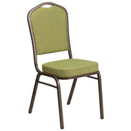 Crown Back Stacking Banquet Chair in Moss Fabric - Gold Vein Frame [FD-C01-GV-8-GG]
