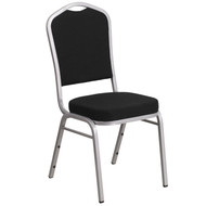 Crown Back Stacking Banquet Chair in Black Fabric - Silver Frame [FD-C01-S-11-GG]