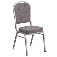 Crown Back Stacking Banquet Chair in Herringbone Fabric - Silver Frame [FD-C01-S-12-GG]