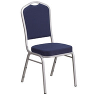 Crown Back Stacking Banquet Chair in Navy Fabric - Silver Frame [FD-C01-S-2-GG]
