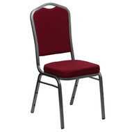 Crown Back Stacking Banquet Chair in Burgundy Fabric - Silver Vein Frame [FD-C01-SILVERVEIN-3169-GG]