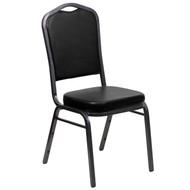 Crown Back Stacking Banquet Chair in Black Vinyl - Silver Vein Frame [FD-C01-SILVERVEIN-BK-VY-GG]
