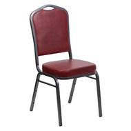 Crown Back Stacking Banquet Chair in Burgundy Vinyl - Silver Vein Frame [FD-C01-SILVERVEIN-BURG-VY-GG]