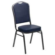 Crown Back Stacking Banquet Chair in Navy Vinyl - Silver Vein Frame [FD-C01-SILVERVEIN-NY-VY-GG]