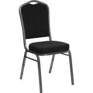 Crown Back Stacking Banquet Chair in Black Dot Patterned Fabric - Silver Vein Frame [FD-C01-SILVERVEIN-S076-GG]