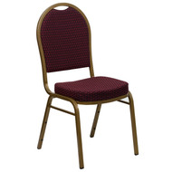 Dome Back Stacking Banquet Chair in Burgundy Patterned Fabric - Gold Frame [FD-C03-ALLGOLD-EFE1679-GG]