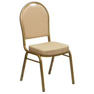 Dome Back Stacking Banquet Chair in Beige Patterned Fabric - Gold Frame [FD-C03-ALLGOLD-H20124E-GG]