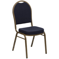 Dome Back Stacking Banquet Chair in Navy Patterned Fabric - Gold Frame [FD-C03-ALLGOLD-H203774-GG]