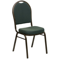 Dome Back Stacking Banquet Chair in Green Patterned Fabric - Gold Vein Frame [FD-C03-GOLDVEIN-4003-GG]