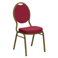 Teardrop Back Stacking Banquet Chair in Burgundy Patterned Fabric - Gold Frame [FD-C04-ALLGOLD-2804-GG]