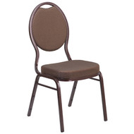 Teardrop Back Stacking Banquet Chair in Brown Patterned Fabric - Copper Vein Frame [FD-C04-COPPER-008-T-02-GG]