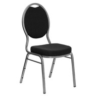 Teardrop Back Stacking Banquet Chair in Black Patterned Fabric - Silver Vein Frame [FD-C04-SILVERVEIN-S076-GG]