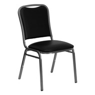 Stacking Banquet Chair in Black Vinyl - Silver Vein Frame [NG-108-SV-BK-VYL-GG]