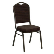 Crown Back Stacking Banquet Chair in Brown Patterned Fabric - Gold Vein Frame [NG-C01-BROWN-GV-GG]