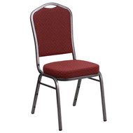 Crown Back Stacking Banquet Chair in Burgundy Patterned Fabric - Silver Vein Frame [NG-C01-HTS-2201-SV-GG]
