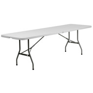 Advantage 8-Foot Bi-Fold Granite White Plastic Banquet and Event Folding Table with Carrying Handle [RB-3096FH-GG]