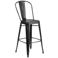 "Advantage Commercial Grade 30"" High Distressed Black Metal Indoor-Outdoor Barstool with Back [ET-3534-30-BK-GG]"