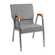 """HERCULES Series 21""""W Stacking Wood Accent Arm Church Chair in Grey Fabric - Silver Vein Frame"""