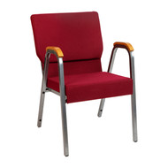 """HERCULES Series 21""""W Stacking Wood Accent Arm Church Chair in Burgundy Fabric - Silver Vein Frame"""