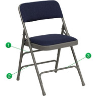 Metal Folding Chairs | Navy Padded Folding Chairs