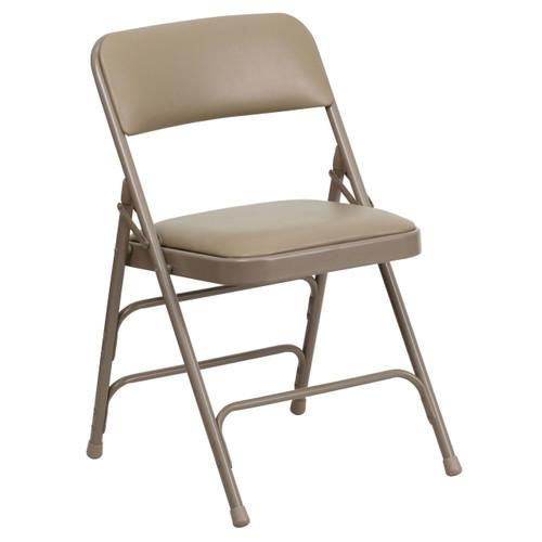 Beige Vinyl Padded Folding Chairs   Metal Folding Chairs