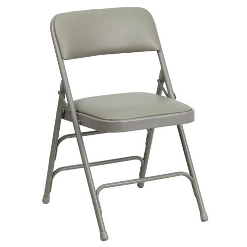 Metal Folding Chairs | Gray Vinyl Padded Folding Chairs