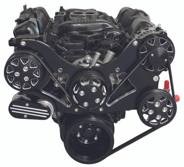 Billet Serpentine System Small Block Chrysler W/ AC & PS; Silverline Series - All American Billet FDS-318-201