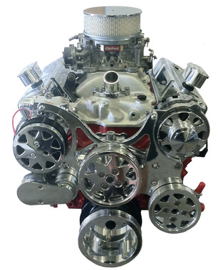 Billet Serpentine System Small Block Chevy W/ AC & PS; Polished Finish - All American Billet FDS-SBC-101